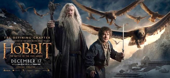 "Ian McKellan (Gandalf) & Martin Freeman (Bilbo) in Peter Jackson's ""The Hobbit: The Battle of the Five Armies (New Line Cinema & Warner Bros., 2014)"