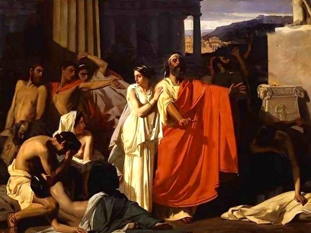 "Inspiration of Ancient Myths & Legends: ""Oedipus & Antigone exiled to Thebes"" (oil on canvas, Eugène-Ernest Hillemacher, 1843)"
