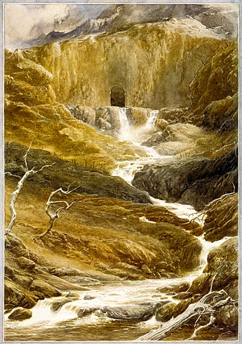 "J.R.R. Tolkien, ""The Hobbit""  (Ch. 13, ""Not at Home,"" art by Alan Lee)"
