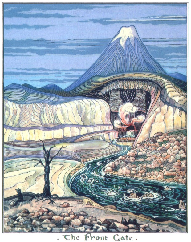 "J.R.R. Tolkien, ""The Hobbit,"" 1937 (""The Front Gate,"" art by J.R.R. Tolkien)"