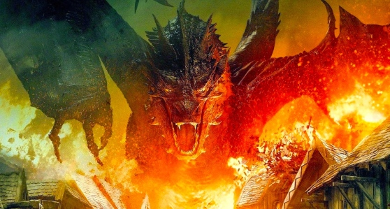 Smaug (Benedict Cumberbatch) Burns Lake Town