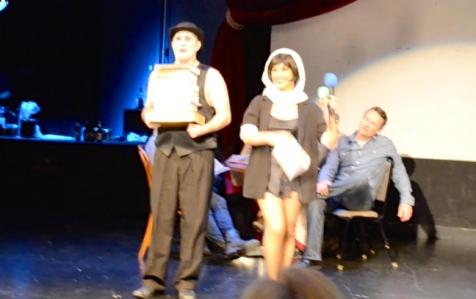 "Off-Center actors Justin & Regina were the emcees for the ""Cabaret""-themed evening & brought ""tomes"" of laughter to introduce me..."