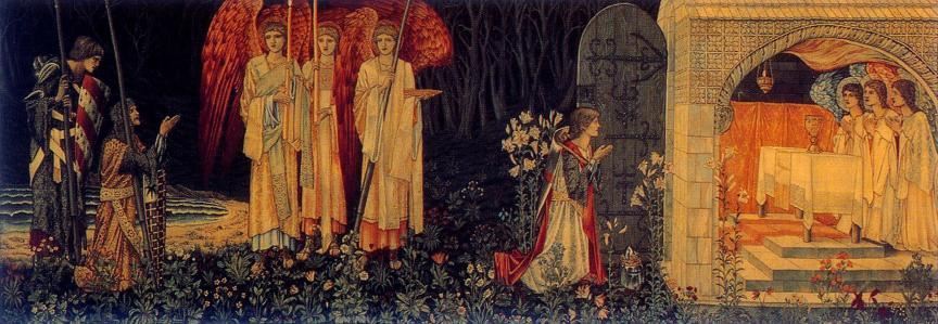 "The Attainment: ""The Vision of the Holy Grail to Sir Galahad, Sir Bors, and Sir Perceval"" ;  No. 6 of Holy Grail tapestries woven by Morris & Co. 1891-94 for Stanmore Hall; Wool and silk on cotton warp; Birmingham Museum and Art Gallery."